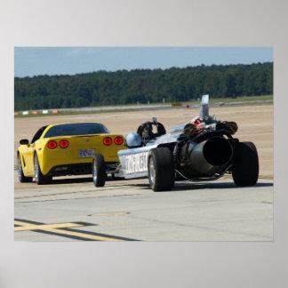 Corvette towing the Smoke and Thunder Jet Car. Print