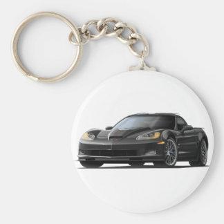 Corvette ZR1 Black Car Basic Round Button Keychain
