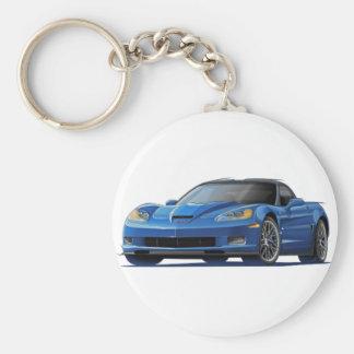 Corvette ZR1 Blue Car Basic Round Button Keychain