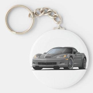 Corvette ZR1 Grey Car Basic Round Button Keychain