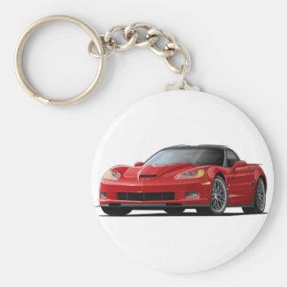 Corvette ZR1 Red Car Basic Round Button Keychain