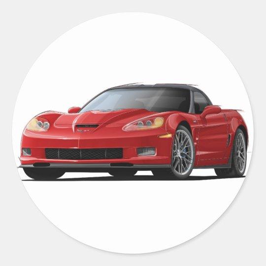 Corvette ZR1 Red Car Classic Round Sticker