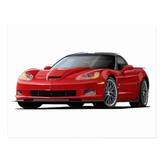 Corvette ZR1 Red Car Postcard