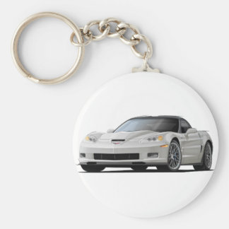 Corvette ZR1 White Car Basic Round Button Keychain