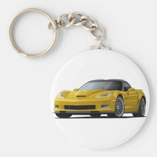 Corvette ZR1 Yellow Car Basic Round Button Keychain