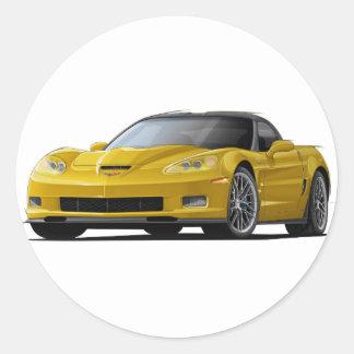 Corvette ZR1 Yellow Car Classic Round Sticker