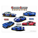 Corvettes magníficos del deporte 1963, 1996, 2010 postales