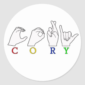 CORY ASL NAME FINGERSPELLED SIGN ROUND STICKERS