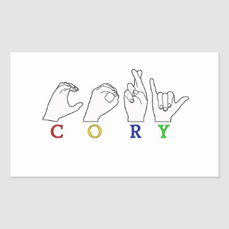 CORY ASL NAME FINGERSPELLED SIGN RECTANGULAR STICKERS