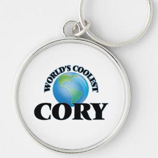 Cory más fresco del mundo llavero redondo plateado