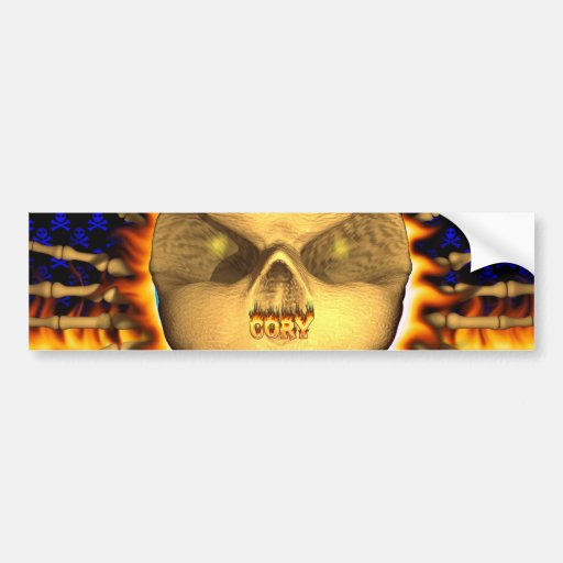Cory skull real fire and flames bumper sticker des