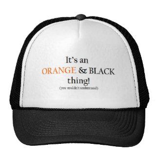 Cosa anaranjada y negra gorras de camionero