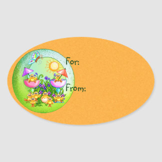Cosa del polluelo pegatinas ovales