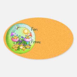 Cosa del polluelo pegatina ovalada