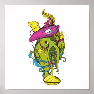 cosa del pulpo del calamar del monstruo del pirata póster
