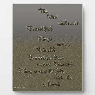 Cosa hermosa sentida con el corazón - Helen Keller Placas Con Foto