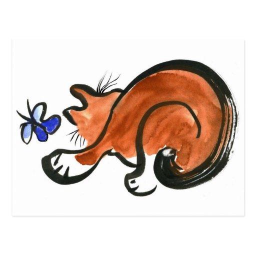 Cosa que agita bribonesca y el gato tarjetas postales