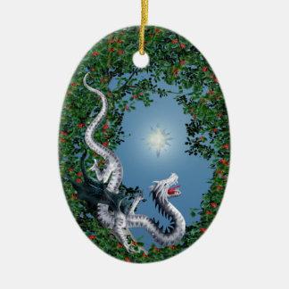 Cosa salvaje adorno navideño ovalado de cerámica