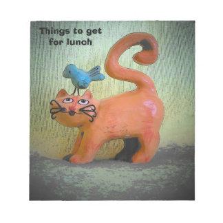 Cosas a conseguir para el gatito hambriento del libretas para notas
