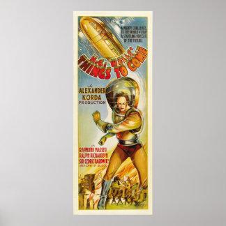 Cosas a venir - cartel de película 1936 del vintag poster