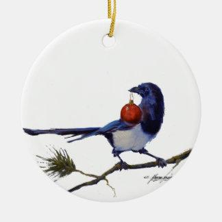 Cosas brillantes adorno navideño redondo de cerámica