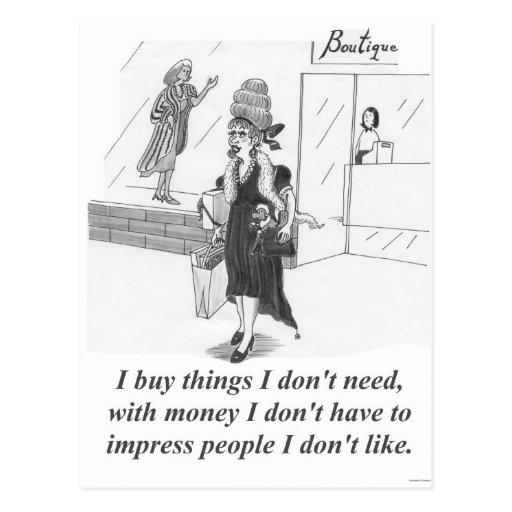 Cosas de compra, señora que hace compras postal