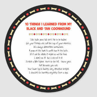 Cosas divertidas aprendidas de Coonhound del negro Pegatina Redonda