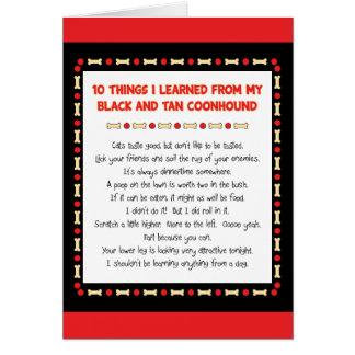 Cosas divertidas aprendidas de Coonhound del negro Tarjeta De Felicitación