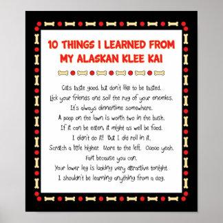 Cosas divertidas I aprendido de mi Klee de Alaska Póster