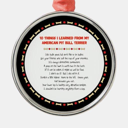 Cosas divertidas I aprendido de mi pitbull america Adorno Para Reyes