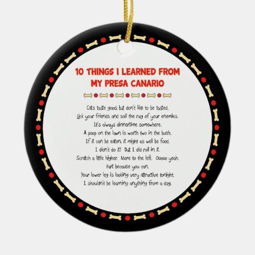 Cosas divertidas I aprendido de mi Presa Canario Adorno Para Reyes