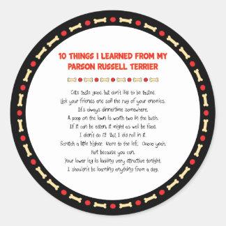 Cosas divertidas I aprendido del párroco Russell Pegatina Redonda