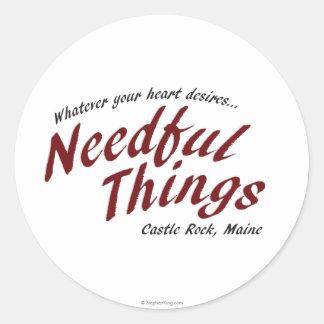 Cosas necesarias pegatina redonda