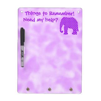 Cosas para recordar el elefante de los lunares pizarra blanca