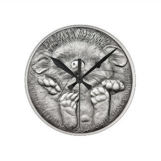 COSAS SALVAJES: Reloj de pared redondo del erizo