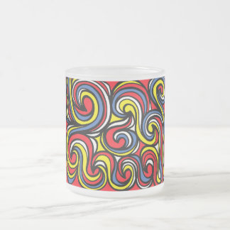 Cosden Abstract Expression Yellow Red Blue 10 Oz Frosted Glass Coffee Mug
