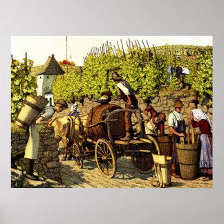 Cosecha 1890 de la uva póster