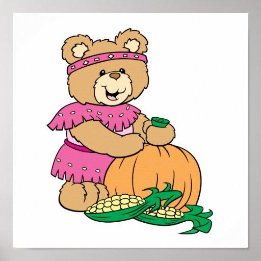 cosecha de diseño thankgiving del oso de peluche d impresiones