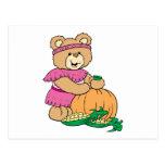cosecha de diseño thankgiving del oso de peluche d postal