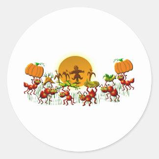 cosecha de hormigas pegatina redonda
