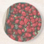 Cosecha de la fresa posavasos personalizados