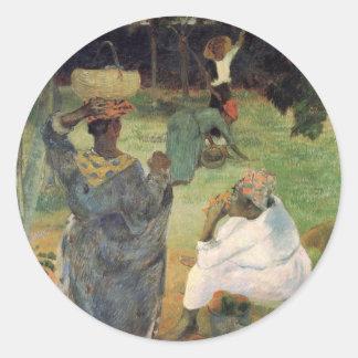 Cosecha de la fruta - Paul Gauguin Pegatina Redonda