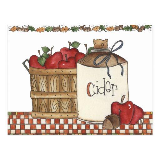 cosecha de la sidra de manzana y de la manzana postal