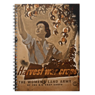 Cosecha del ejército de la tierra de las mujeres libro de apuntes con espiral