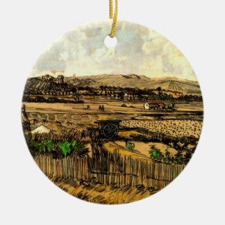 Cosecha en Provence, bella arte de Van Gogh del Adorno Navideño Redondo De Cerámica
