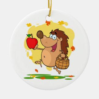 cosecha linda feliz de la manzana del erizo ornamentos de navidad