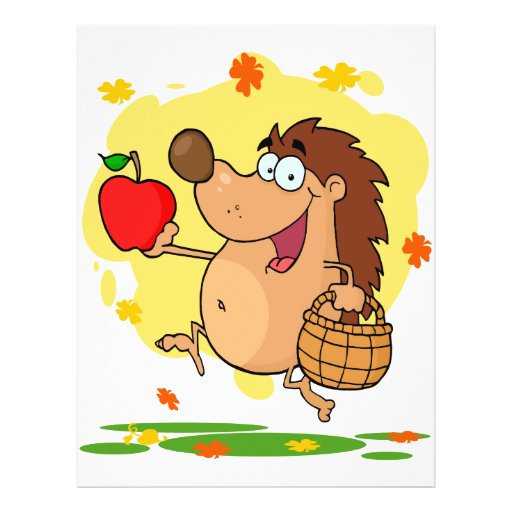 cosecha linda feliz de la manzana del erizo tarjetón