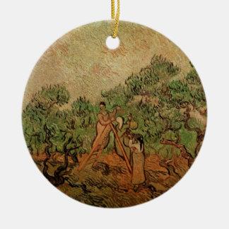 Cosecha verde oliva de Van Gogh, bella arte del Adorno Navideño Redondo De Cerámica