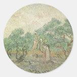 Cosecha verde oliva de Van Gogh, impresionismo del Pegatinas
