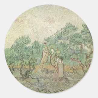 Cosecha verde oliva de Van Gogh, impresionismo del Pegatina Redonda